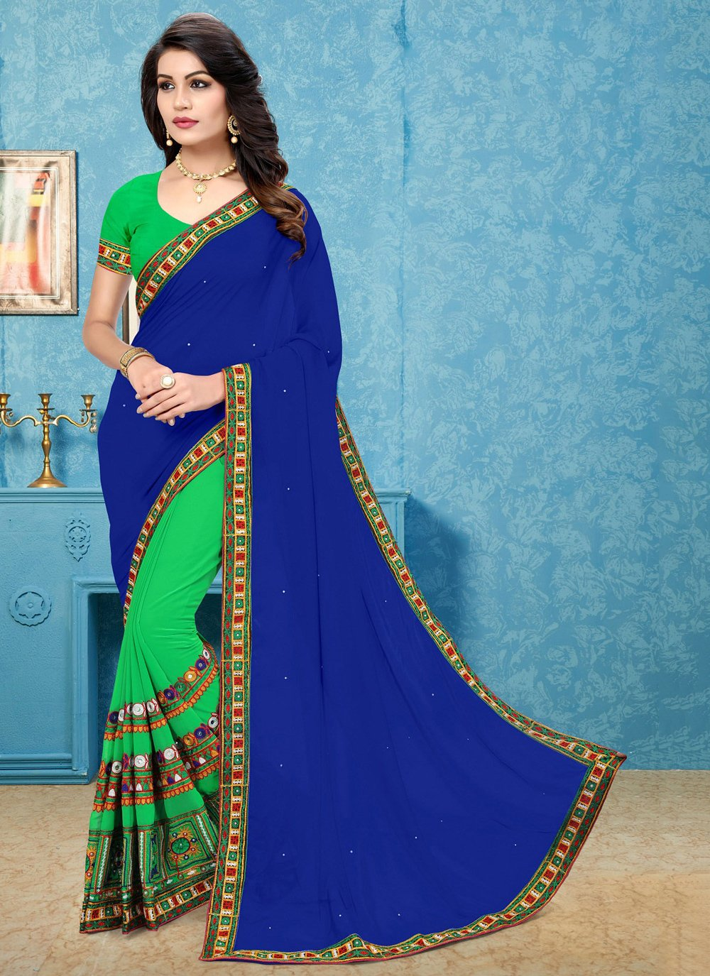 Blue and Green Patch Border Half N Half Trendy Saree