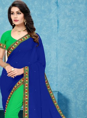 Blue and Green Patch Border Half N Half Trendy Saree