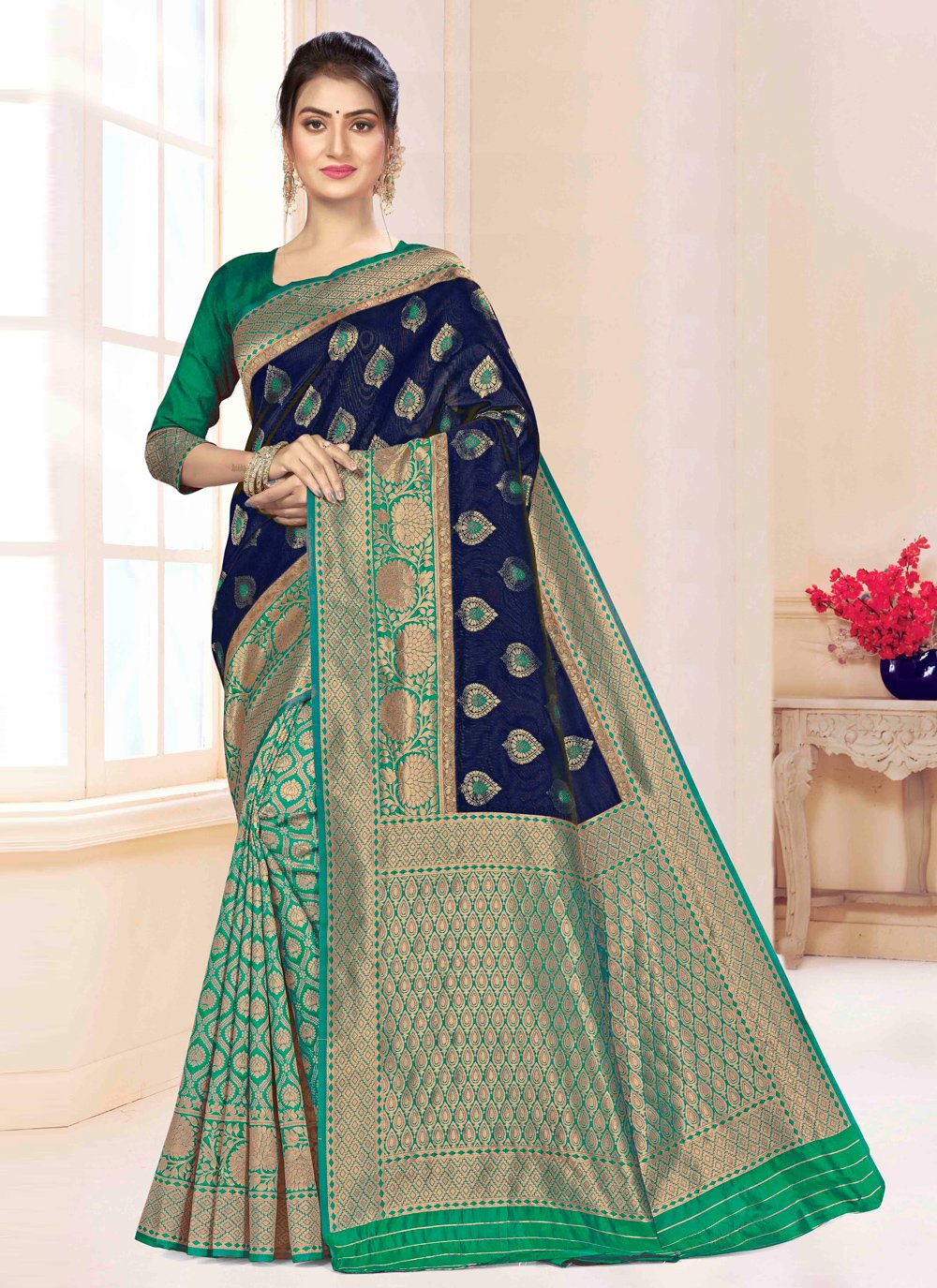 Blue and Green Weaving Party Classic Saree