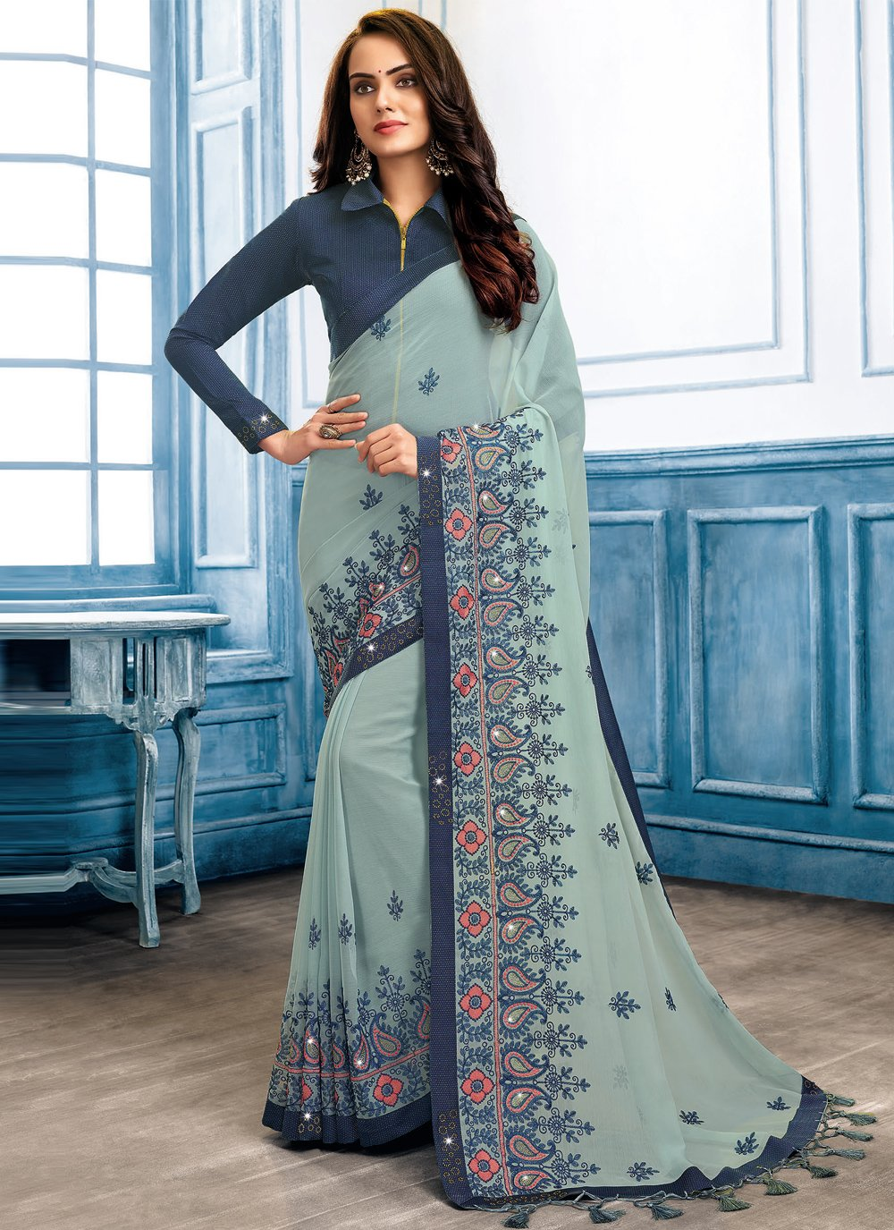 Blue and Grey Color Classic Designer Saree