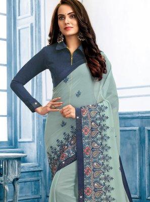 Blue and Grey Color Classic Designer Saree