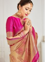 Blue and Hot Pink Art Banarasi Silk Woven Designer Half N Half Saree