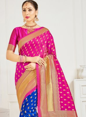 Blue and Hot Pink Art Banarasi Silk Woven Designer Half N Half Saree