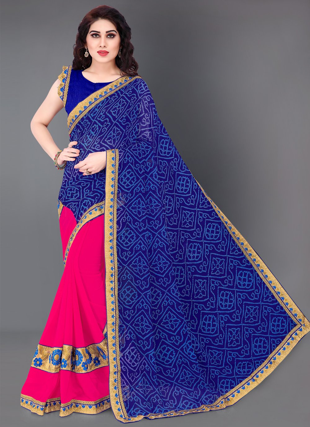 Blue and Hot Pink Faux Chiffon Machine Embroidery  Designer Half N Half Saree