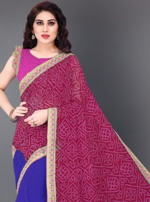 Blue and Hot Pink Faux Georgette Half N Half Designer Saree