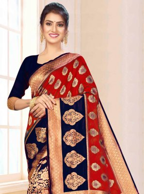 Blue and Maroon Festival Bollywood Saree
