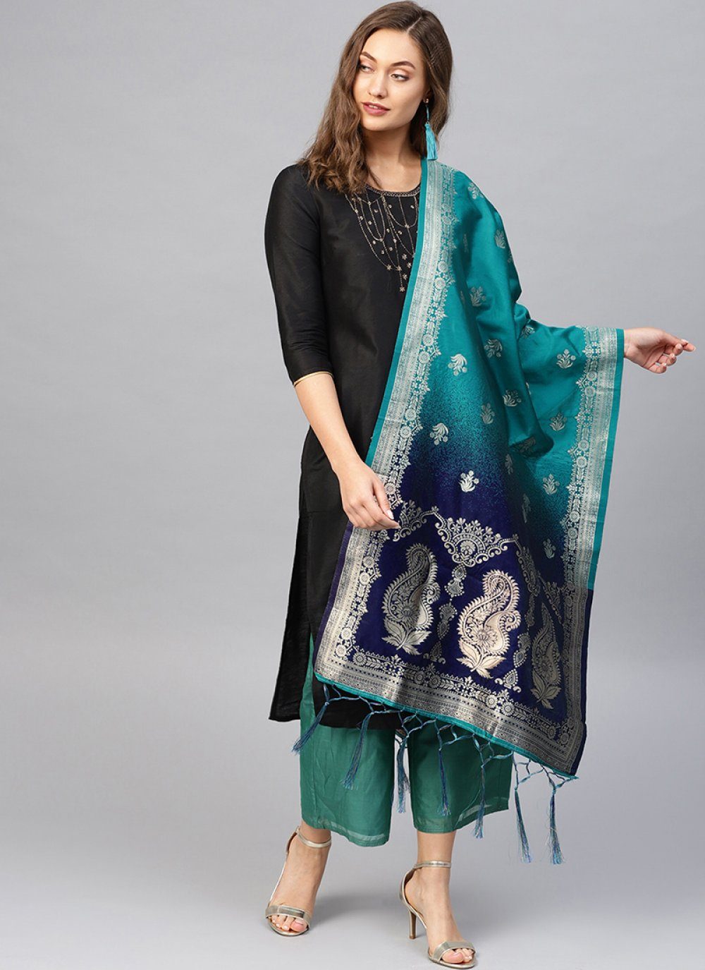 Blue and Navy Blue Weaving Designer Traditional Saree