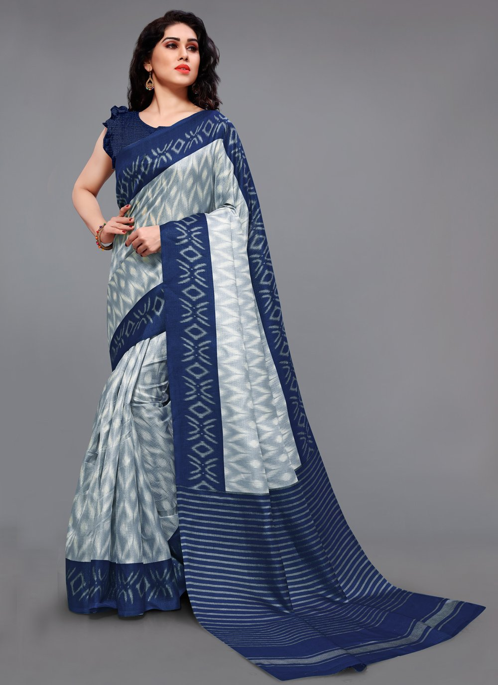 Blue and Off White Casual Khadi Silk Printed Saree
