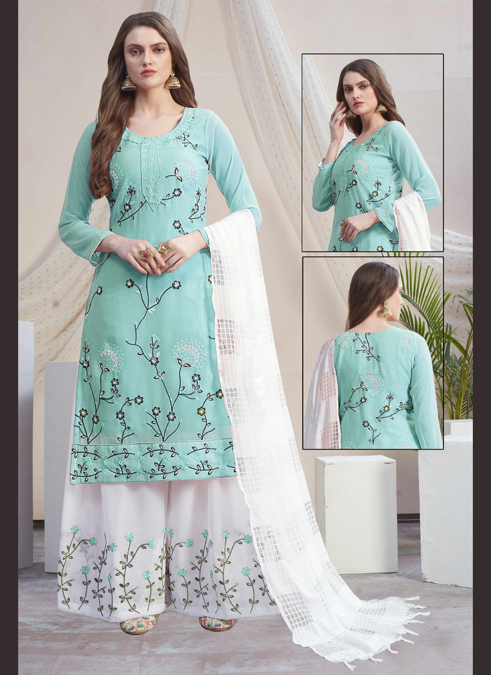 Blue and Off White Ceremonial Faux Georgette Designer Palazzo Salwar Suit