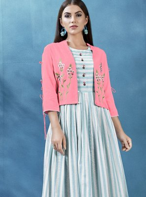 Blue and Off White Handloom Cotton Jacket Style