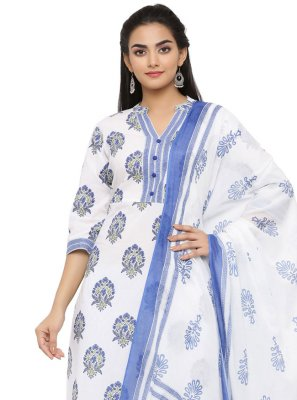 Blue and Off White Printed Party Wear Kurti