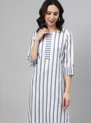 Blue and Off White Rayon Party Wear Kurti