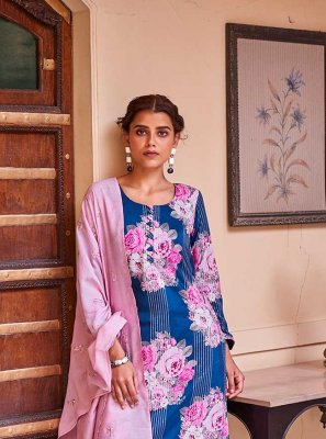 Blue and Pink Festival Designer Palazzo Suit