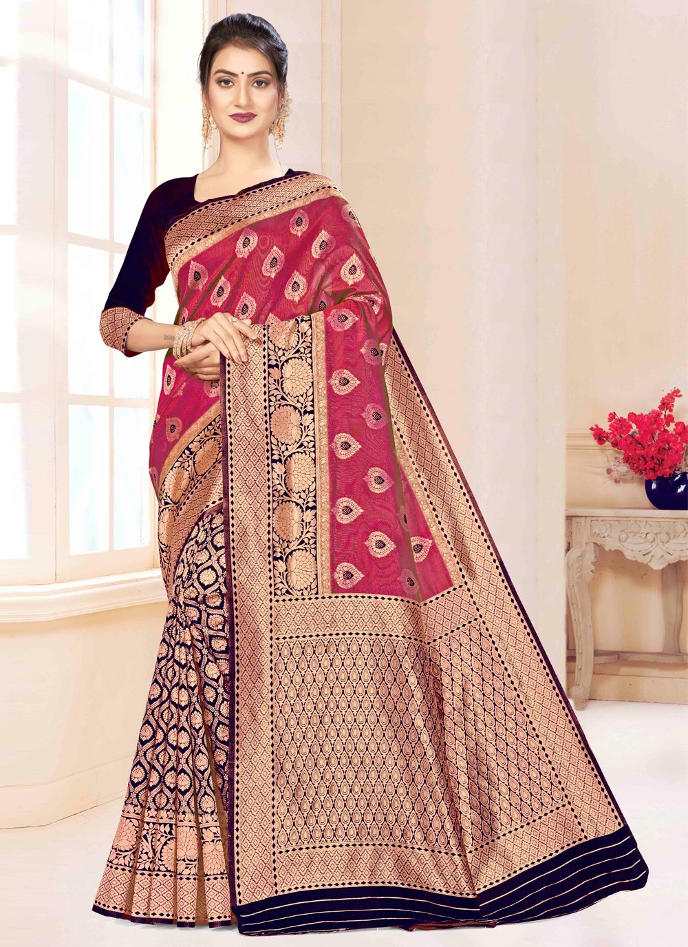 Blue and Pink Festival Traditional Saree