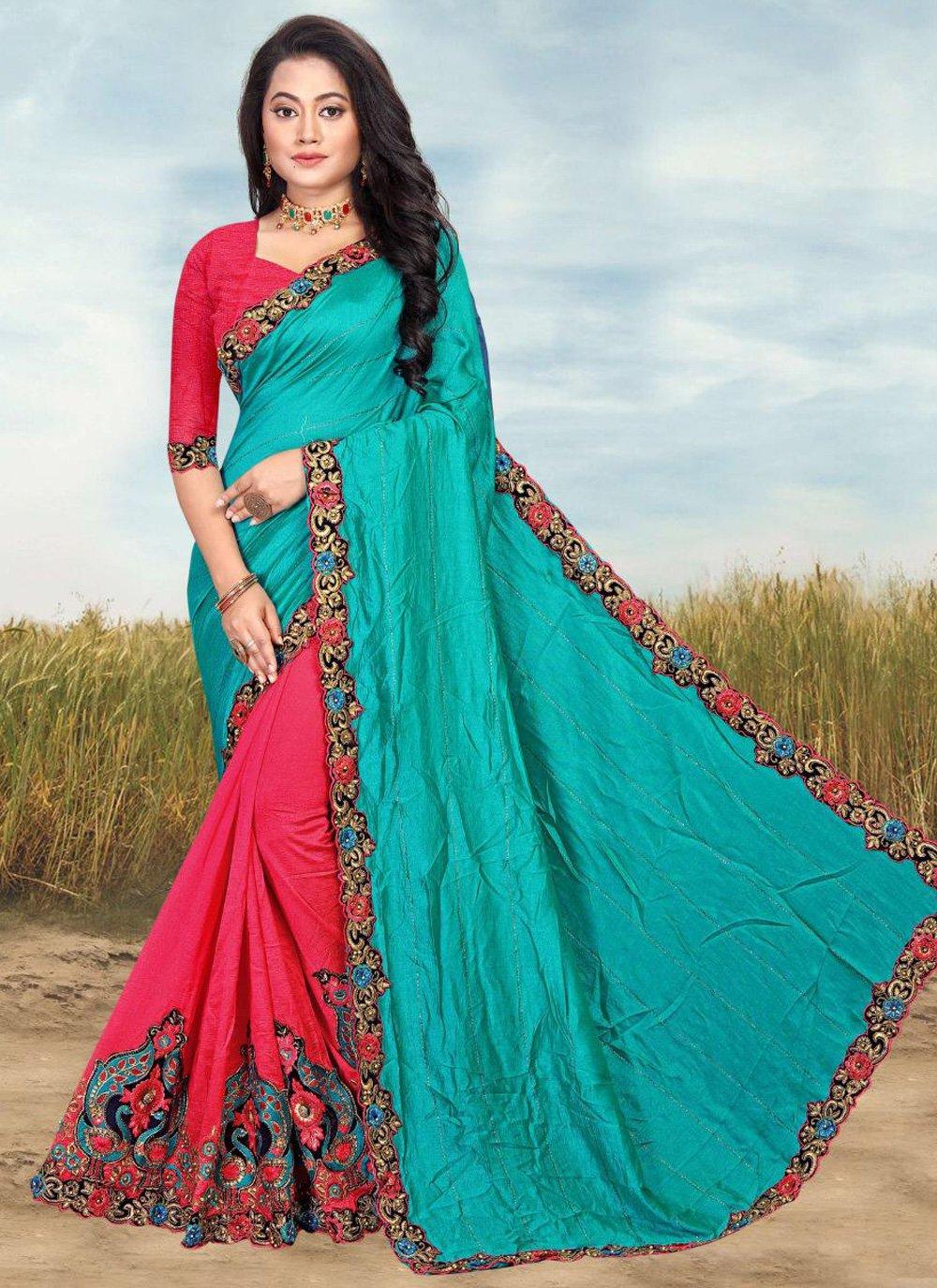 Blue and Pink Half N Half  Saree