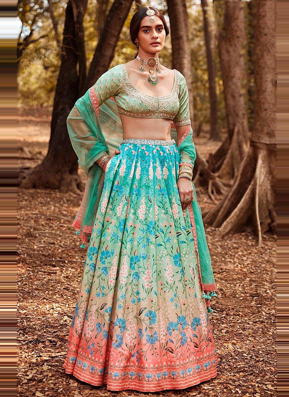 Blue and Pink Mehndi Lehenga Choli