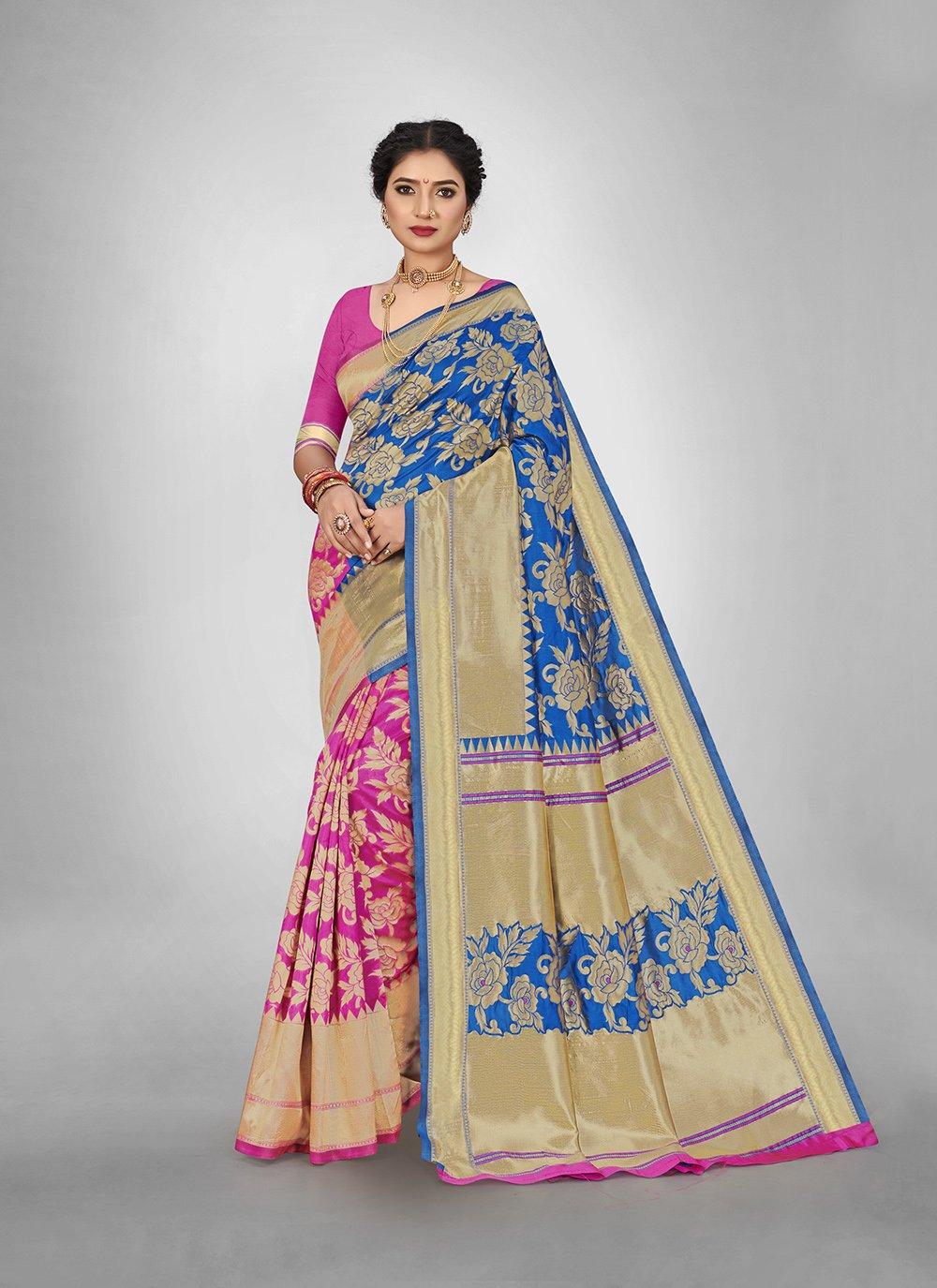Blue and Pink Weaving Silk Saree