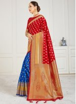 Blue and Red Art Banarasi Silk Half N Half  Saree