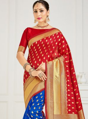 Blue and Red Art Banarasi Silk Half N Half  Saree