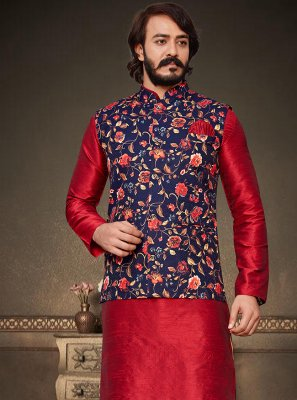 Blue and Red Art Silk Kurta Payjama With Jacket