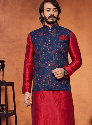 Blue and Red Color Kurta Payjama With Jacket