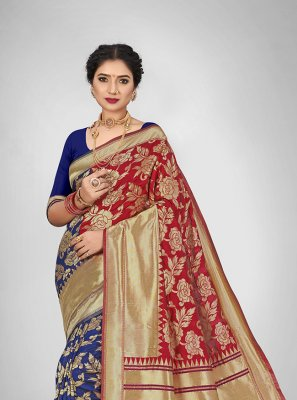 Blue and Red Engagement Jacquard Silk Silk Saree