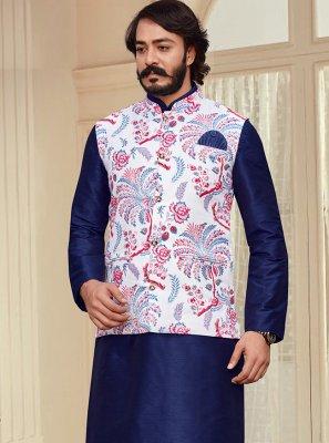 Blue and White Printed Art Silk Kurta Payjama With Jacket