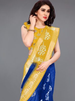 Blue and Yellow Cotton Printed Printed Saree