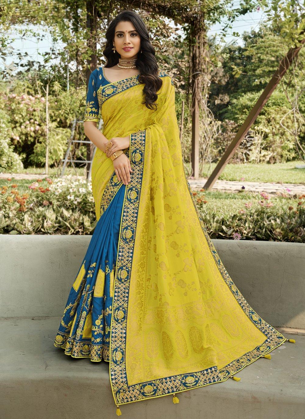 Blue and Yellow Embroidered Designer Half N Half Saree