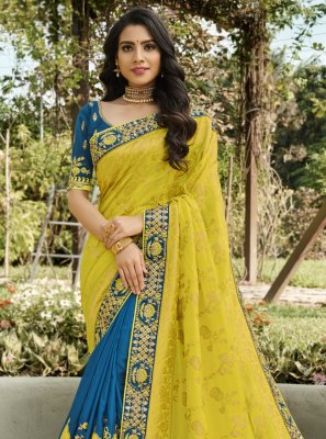 Blue and Yellow Embroidered Designer Half N Half Saree