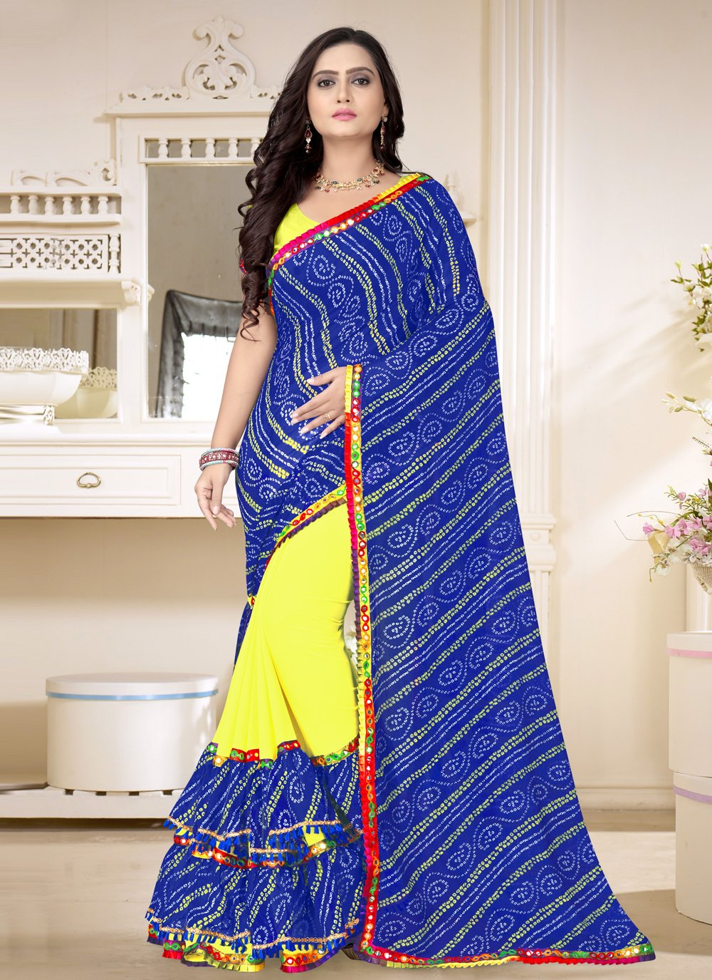 Blue and Yellow Festival Faux Georgette Half N Half  Saree