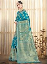 Blue Art Banarasi Silk Designer Traditional Saree