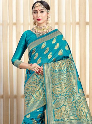 Blue Art Banarasi Silk Designer Traditional Saree