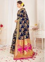 Blue Art Banarasi Silk Woven Traditional Saree