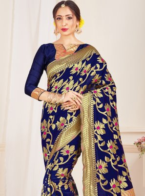 Blue Art Banarasi Silk Woven Traditional Saree