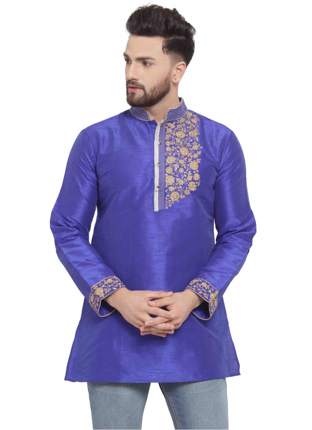 Blue Art Dupion Silk Kurta