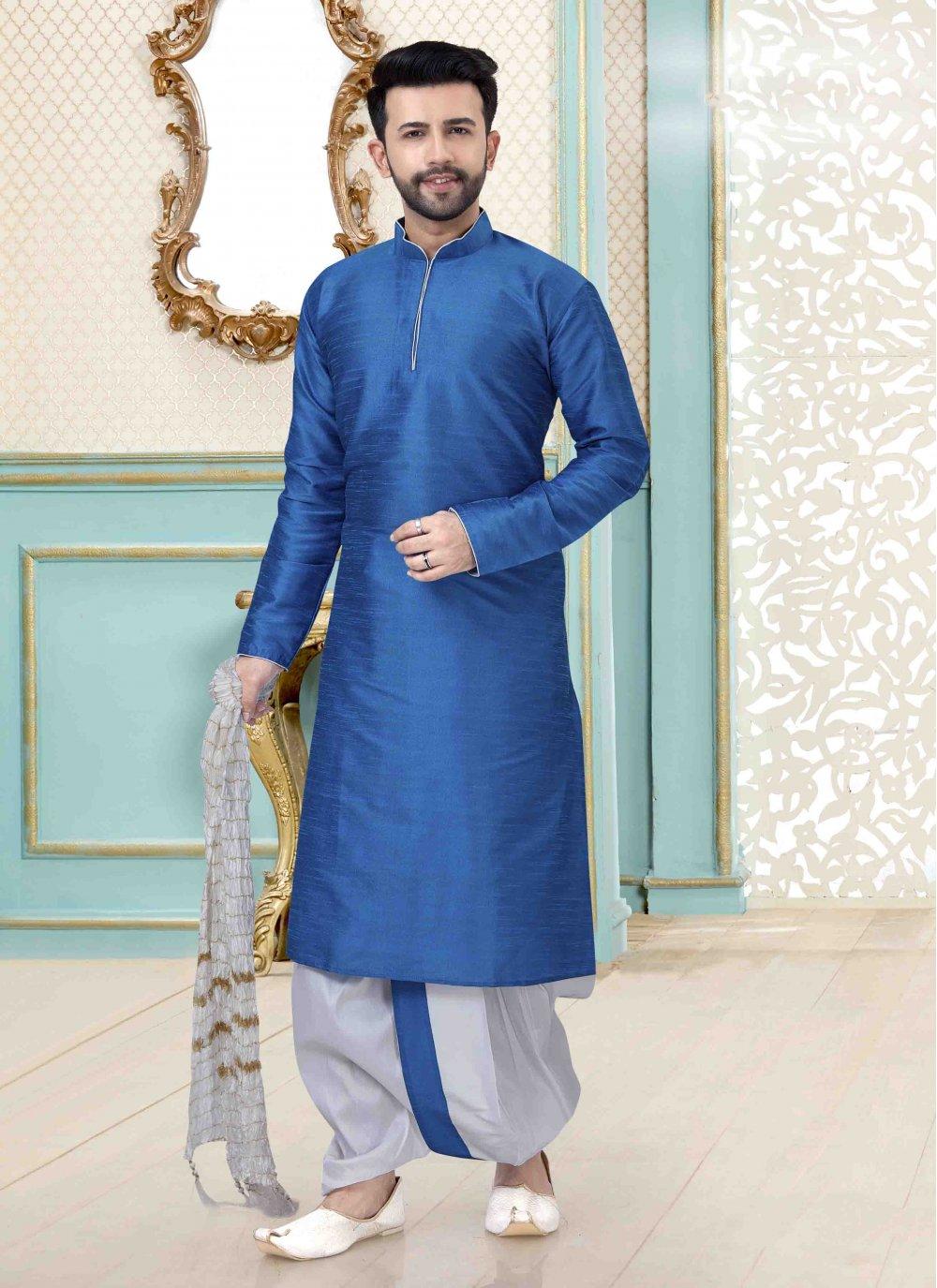Blue Art Dupion Silk Mehndi Kurta Pyjama