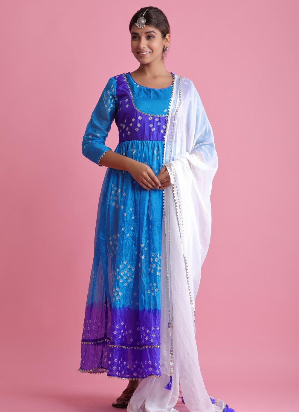 Blue Art Silk Fancy Readymade Suit