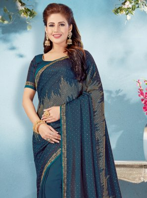 Blue Art Silk Festival Designer Traditional Saree