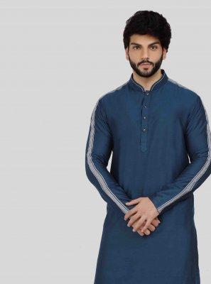 Blue Art Silk Sangeet Kurta Pyjama