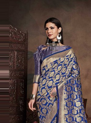 Blue Art Silk Weaving Designer Traditional Saree