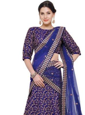 Blue Art Silk Zari A Line Lehenga Choli