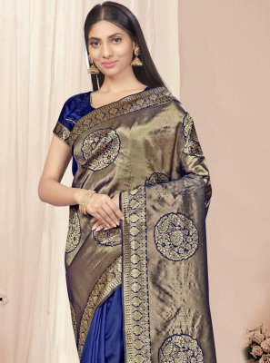 Blue Banarasi Silk Designer Traditional Saree