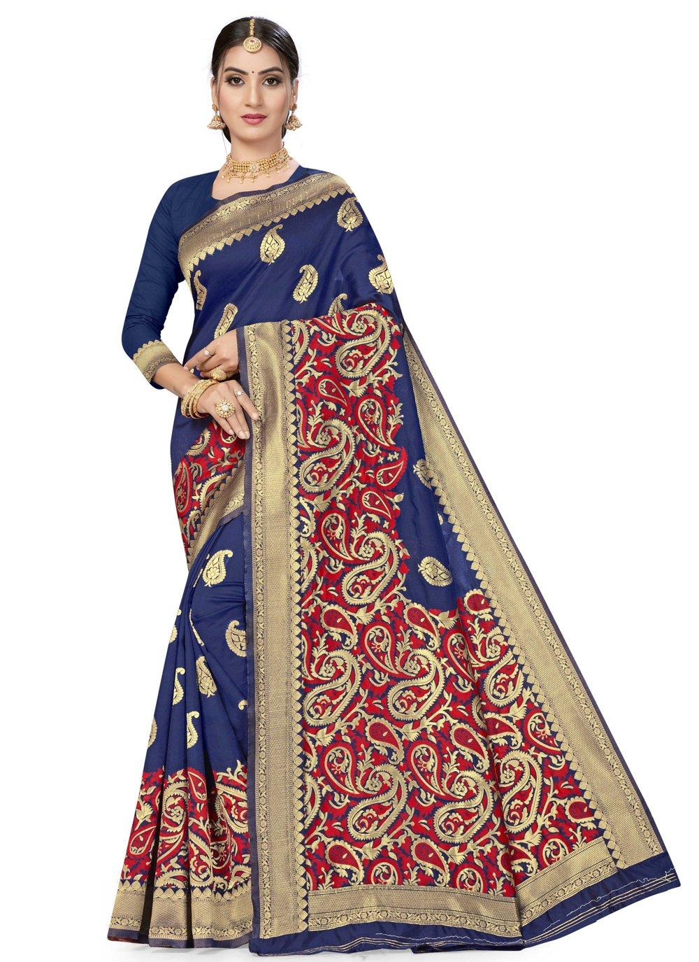 Blue Banarasi Silk Designer Traditional Saree