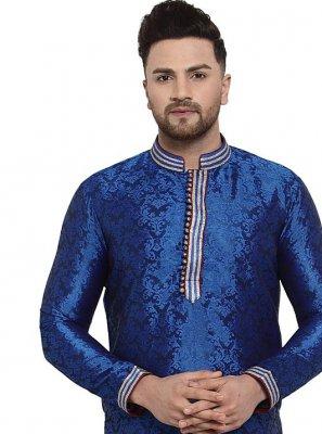 Blue Banarasi Silk Embroidered Kurta