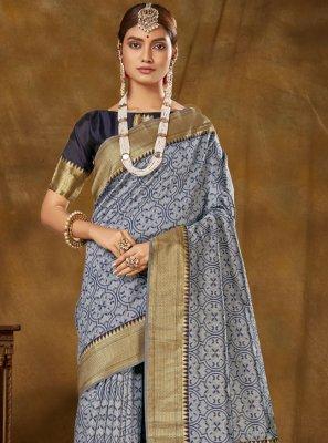 Blue Banarasi Silk Festival Designer Traditional Saree