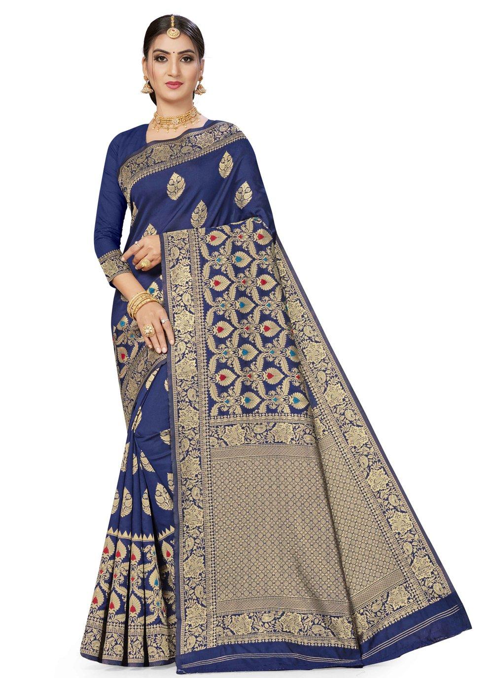 Blue Banarasi Silk Festival Traditional Saree