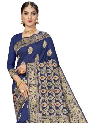 Blue Banarasi Silk Festival Traditional Saree