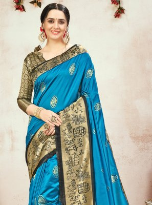 Blue Banarasi Silk Weaving Traditional Designer Saree