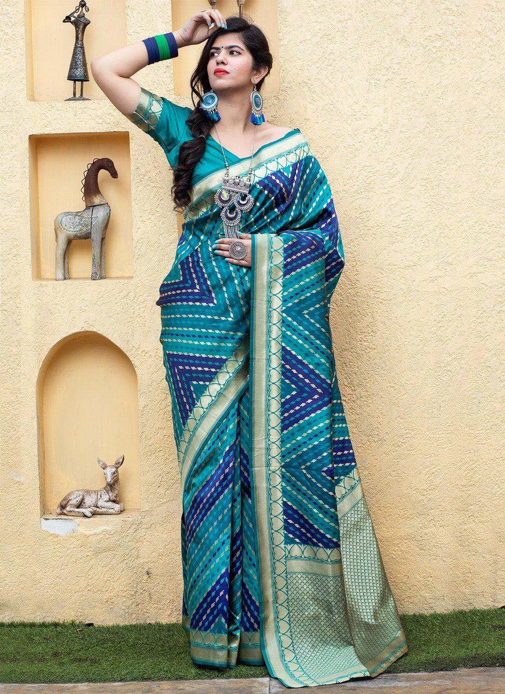 Blue Banarasi Silk Weaving Traditional Saree